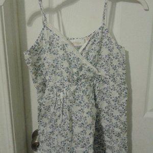 white and blue floral v neck spaghetti strap top